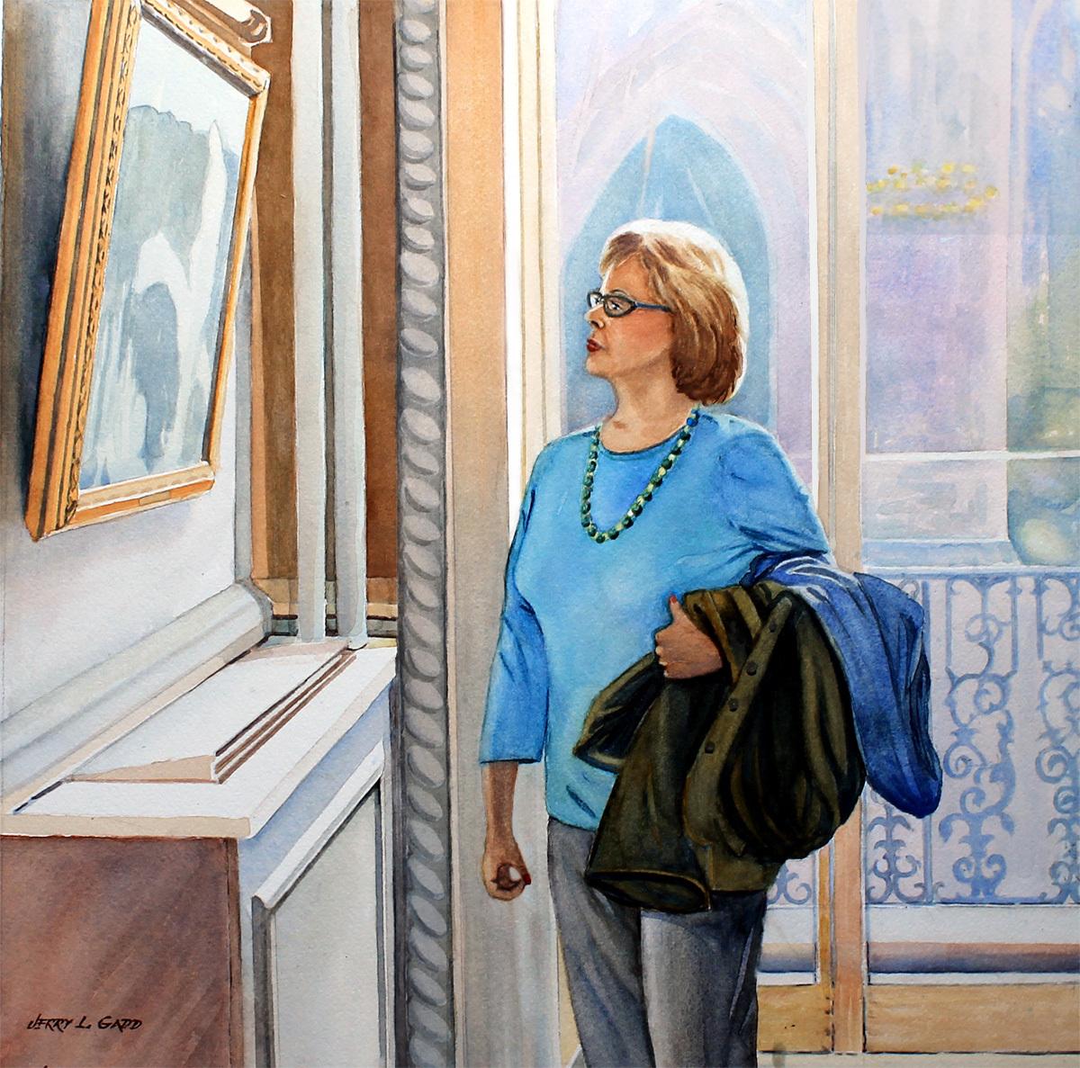 Carol Viewing Painting (large view)