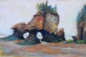pastel painting of rock formations at low tide in the Bay of Fundy, New Brunswick (thumbnail)