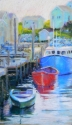 Pastel painting of 3 boats at dock in the late afternoon with fishing village (thumbnail)