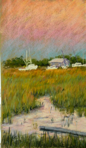 Painting--Pastels-LandscapeTybee Marshes, Evening Glow