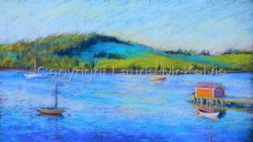 pastel painting of boats anchored in bay, early morning, Nova Scotia (thumbnail)