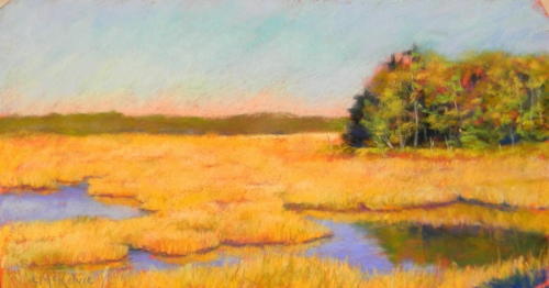 pastel painting of marsh and woods, late afternoon (thumbnail)