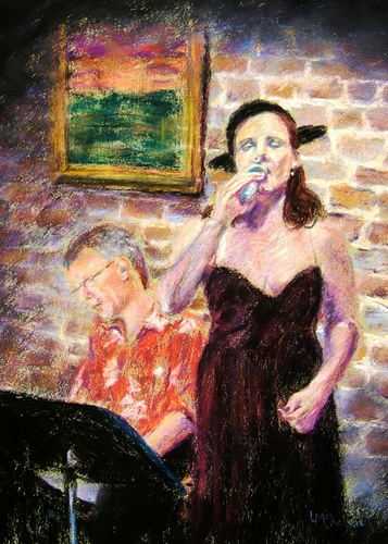 Painting--Pastels-FigurativeCharlotte and Dennis, Bistro 71, July 2009