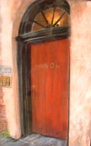 Painting--PastelsRed door, New Orleans