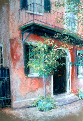 Painting--PastelsPink House, Charleston SC