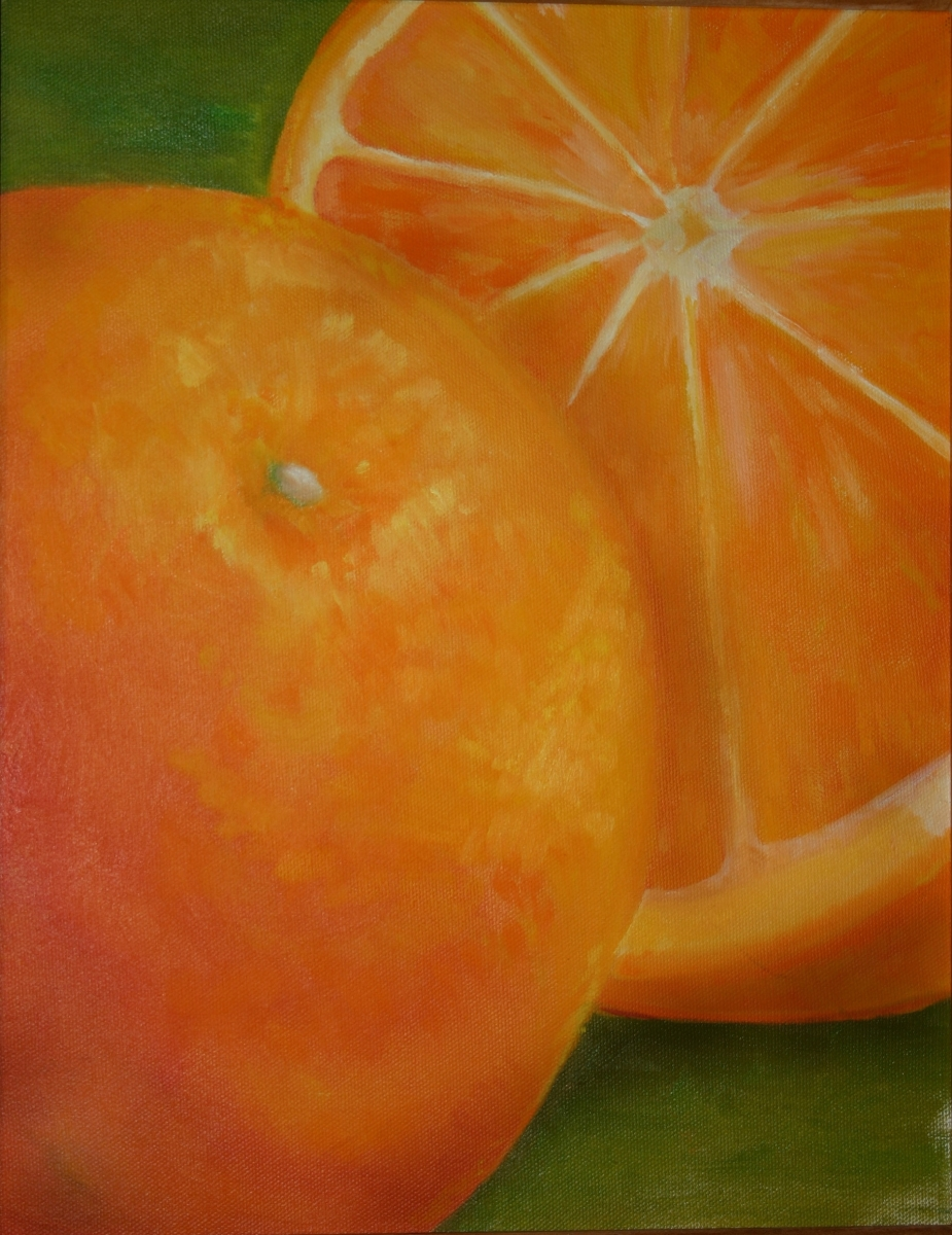 Oil painting of sliced orange richly painted with brilliant and bright yellow-orange colors  (large view)