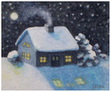 A snow covered cottage at night