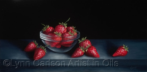 Strawberries in a Glass Dish
