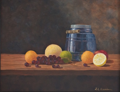 Blue Glass Jar with Fruit by Linda C. Eichhorn