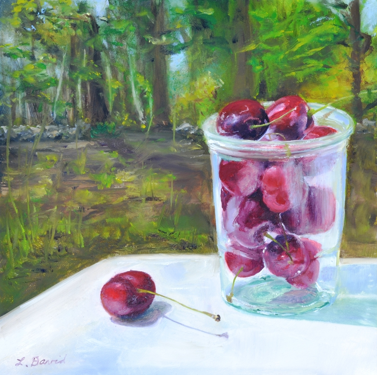 Jelly Jar Glass of Cherries (large view)