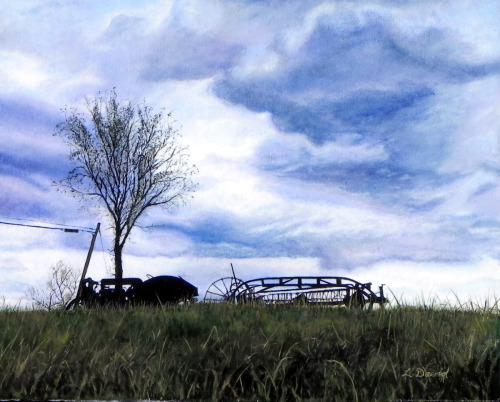 November Tractor by Lisa  David: Classic, Rustic, Vintage. Painting the Adirondacks and New York.