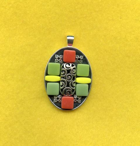oval mosaic pendant