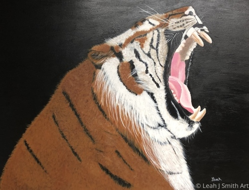 Yawning Tiger by Leah J Smith Art