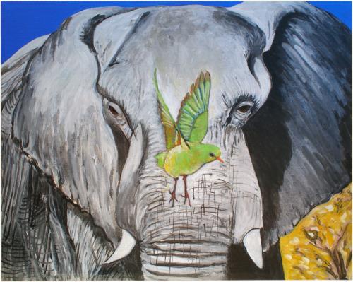 Elephant and Green Bird