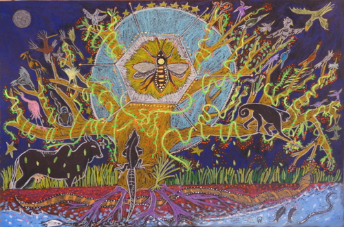 Cosmic Tree Of Life with Bee