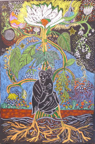 Cosmic Tree Of Life with Mother and Child
