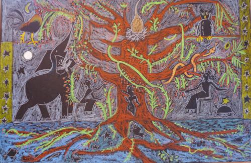 Cosmic Tree Of Life with Elephant