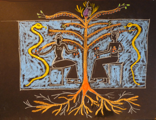Cosmic Tree of Life with Two People