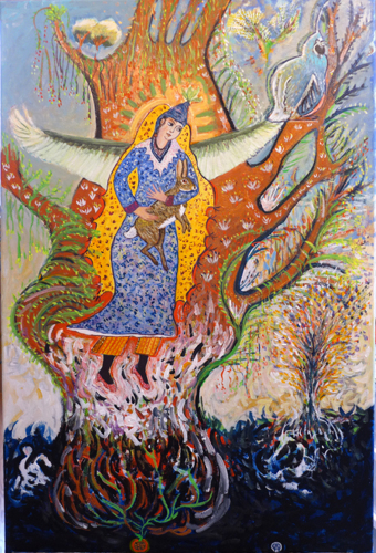 Cosmic Tree of Life With Green Winged Earth Maiden and Rabbit
