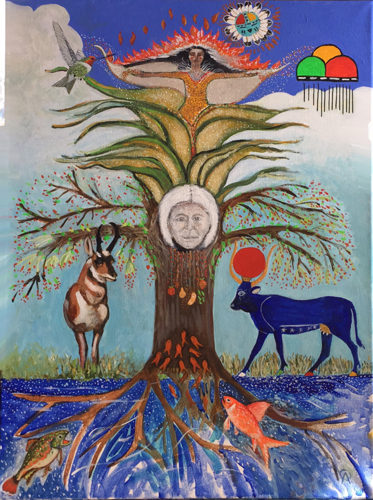 Tree Of Life With Antelope, Fish,Corn Maiden, The Ancestor, and Egyptian Goddess Hathor in the form of a Sacred Cow