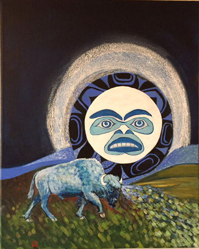 Inuit Moon With Blue Buffalo