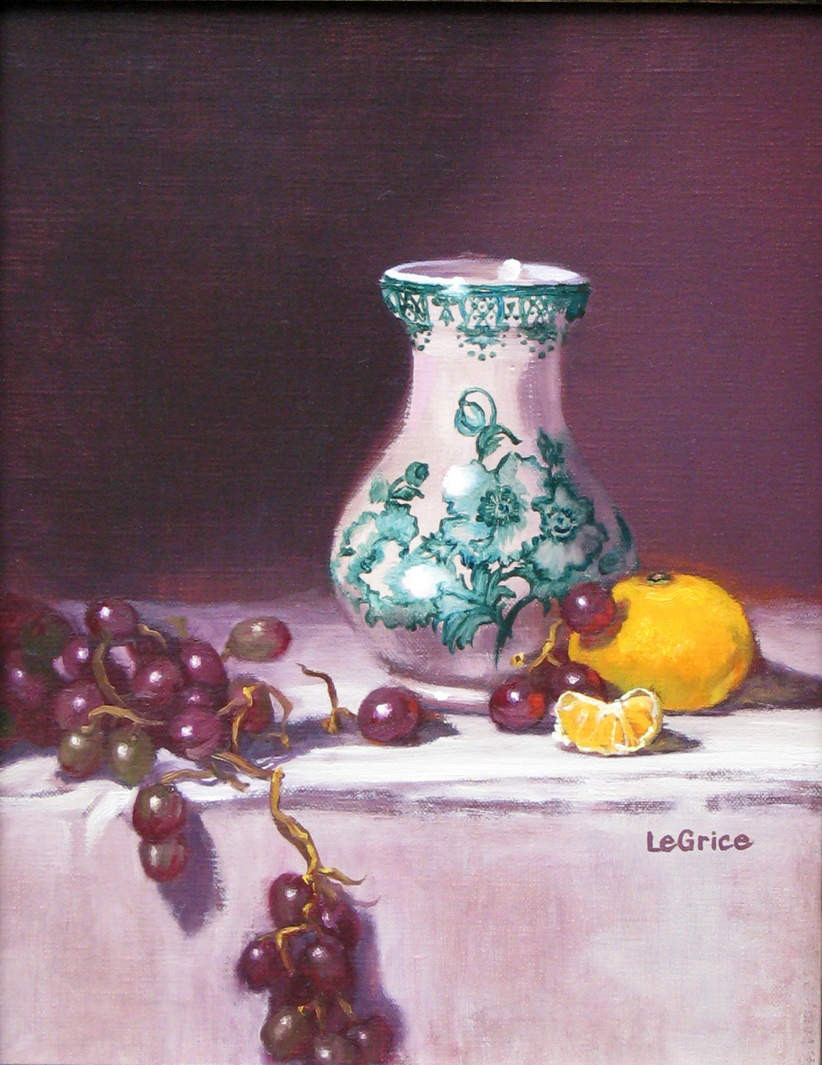 """Vase, Grapes and Clementine"" (large view)"