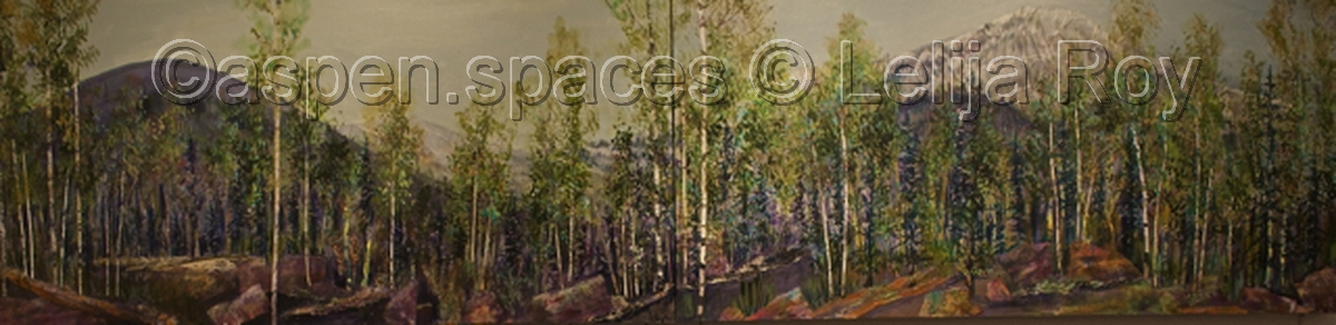 Elk Highway (diptych) 24x96 © Lelija Roy (large view)