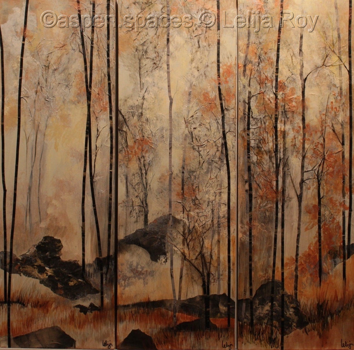 Sunrise in Fog (Triptych) 36x36 (c) Lelija Roy (large view)