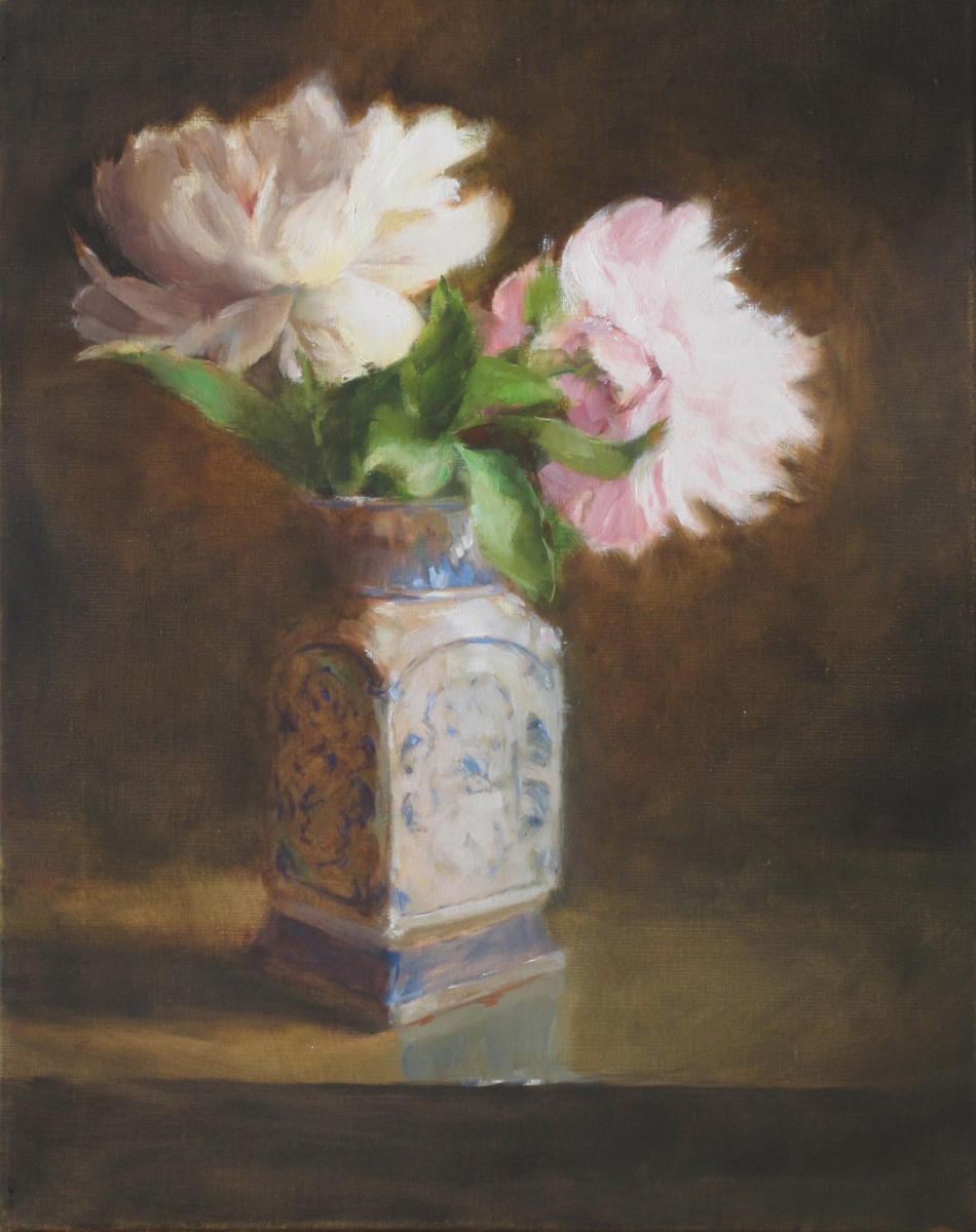 Peonies in Blue and White (large view)