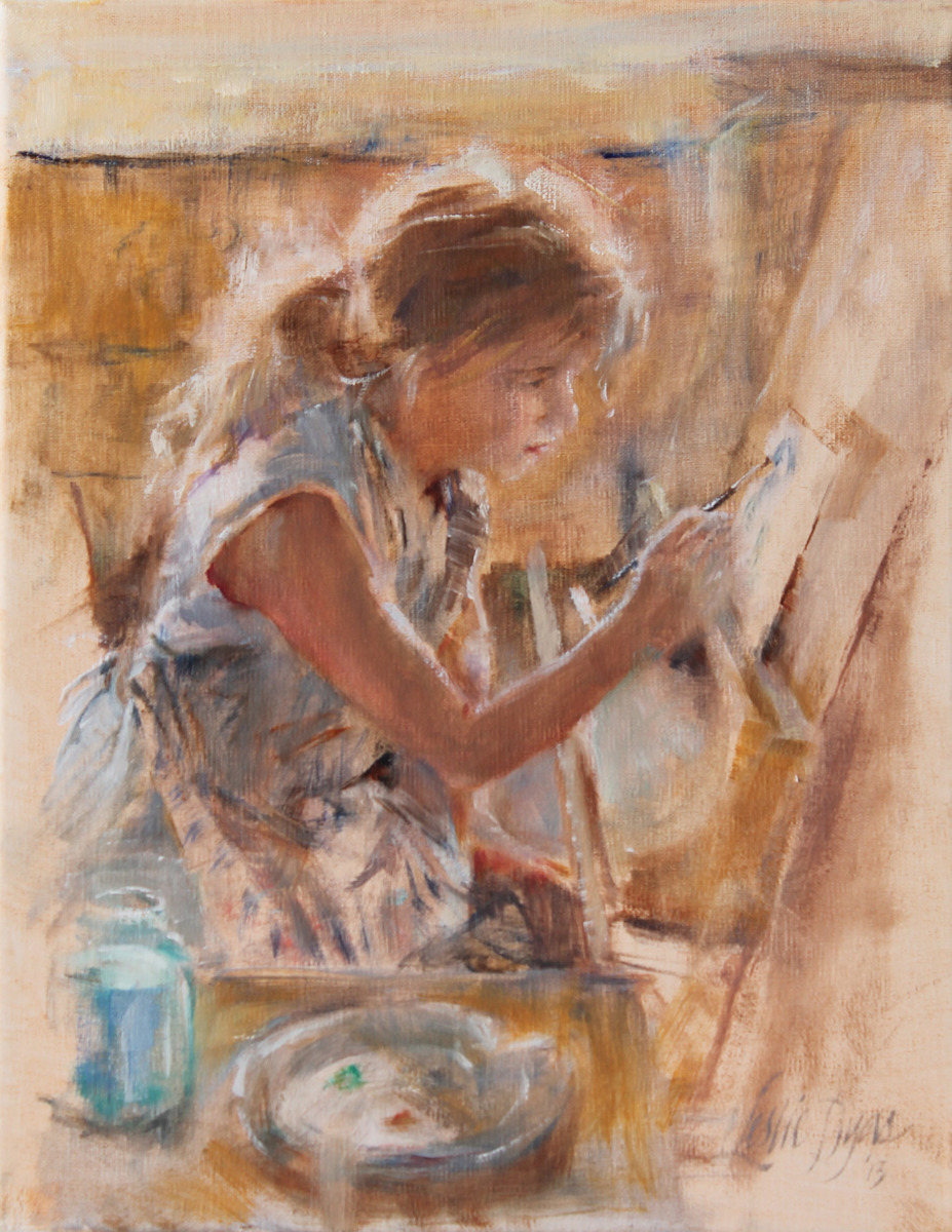 """""""Budding Artist"""" portrait in oil by artist Leslie Dyas (large view)"""