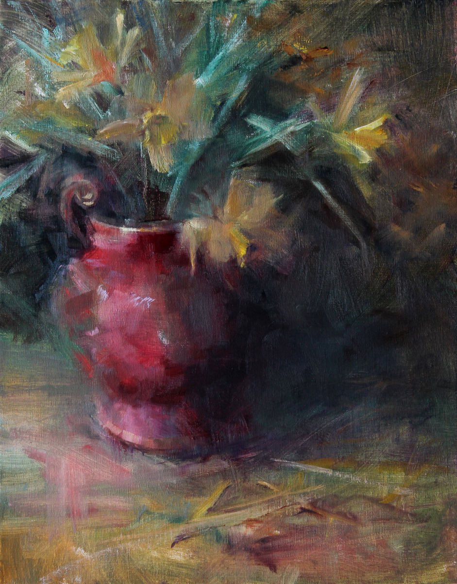 Daffodils in Red oil painting by artist Leslie Dyas (large view)