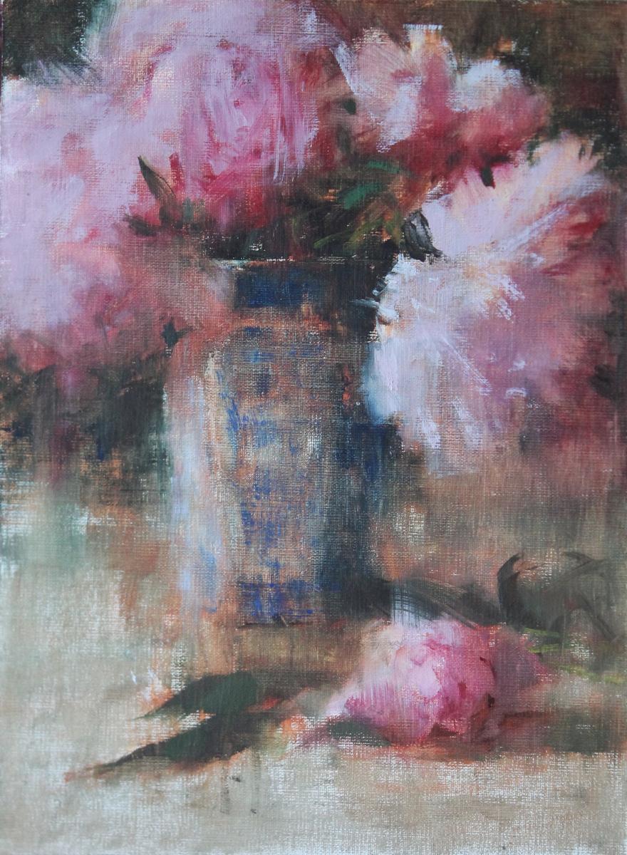 Pink Peonies, Blue Vase (large view)