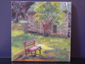 painting of strong sun,painting of a bench,painting of Great Falls Park, - Landscape Painting