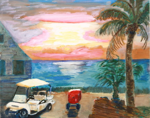 Sunrise with Golf Cart