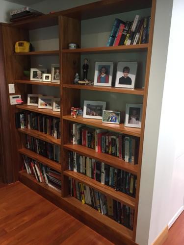 Solid Rimu built in book shelf