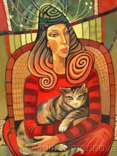 Maria with cat