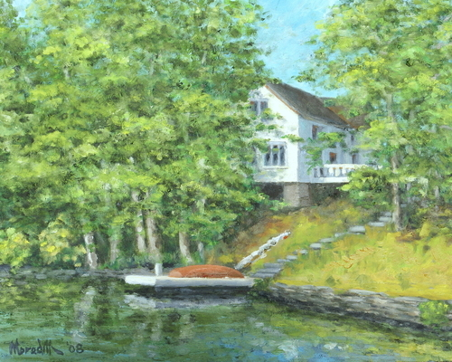 Cottage at Lake Wesauking from lake by Hawk Oak Studios