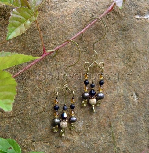 Black and Tan Earrings