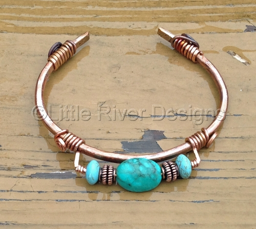 Antiqued Copper Bangle Bracelet