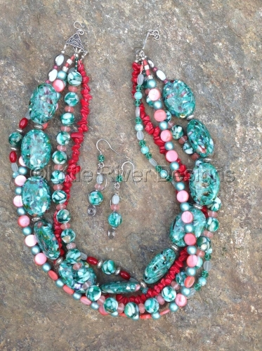 Multi Strand Teal and Red Coral Necklace and Earring Set