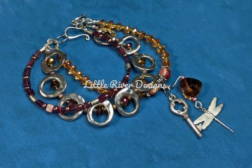 Heart Three Strand Charm Bracelet