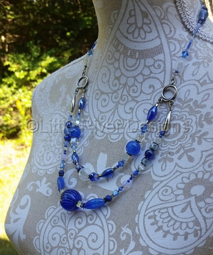 Blown Glass and Sterling Silver Necklace