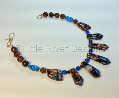 Blue Jasper and Bronzite Necklace