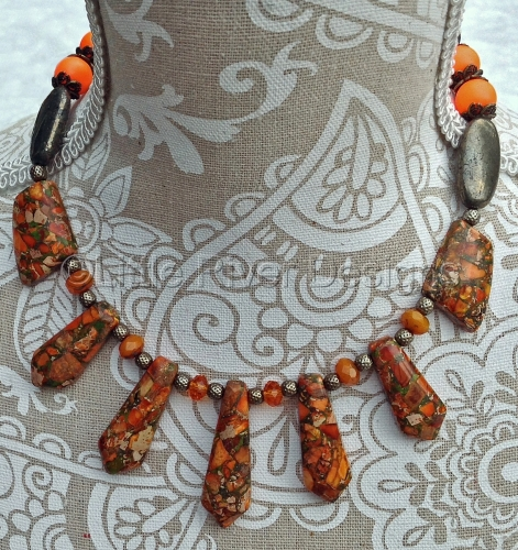 Orange Jasper and Pyrite Necklace