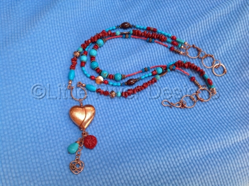 Coral and Turquoise Heart Necklace