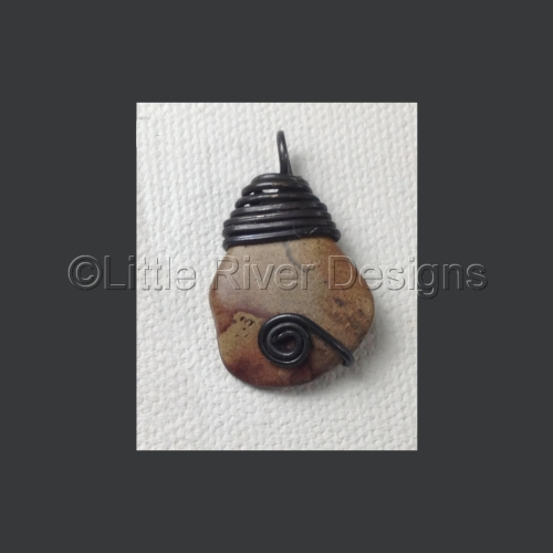 Tumbled and Hand Polished Beach Stone Pendant in Annealed Stainless Steel