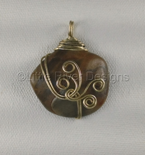Rye Harbor Tumbled Stone Metalworked in Brass Pendant