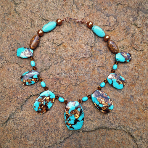 Turquoise and Bronzite Bib Necklace