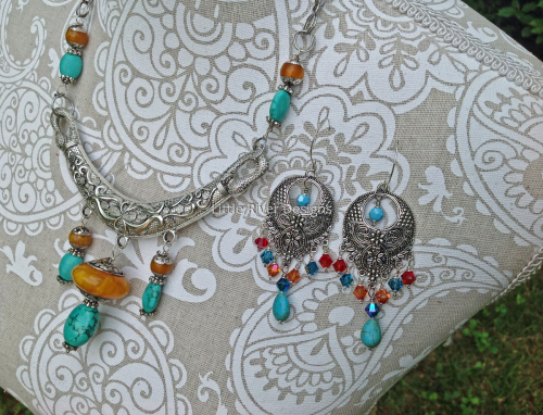 Turquoise and Amber Silver Choker Set