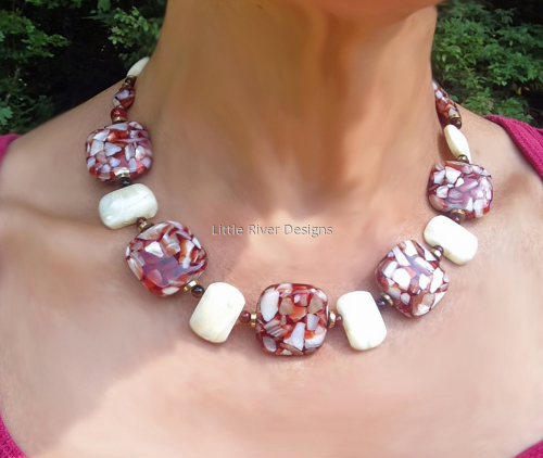 Mother of Pearl Choker Necklace and Earring Set